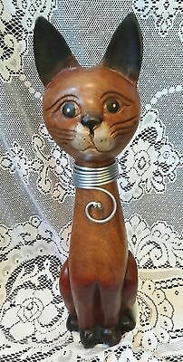 Carved Wooden Siamese Cat Kitty Figurine Statue Metal Decorative Accents 15""