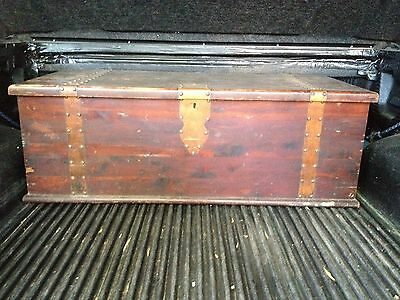 ~Vintage LARGE Wood Trunk with Metal Banding & Rivets! FREE BONUS! BABY TRUNK