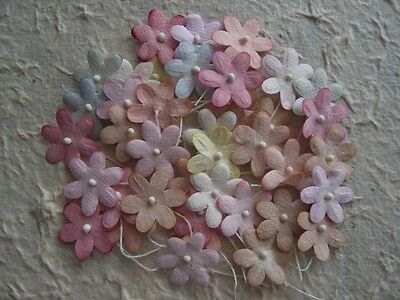 100 Mulberry Paper 20mm FLOWERS  MPFF37B Pastel colours: scrapbooking cardmaking
