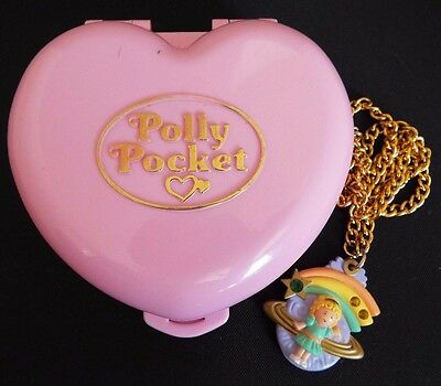 Vintage 1992 Polly Pocket Shooting Star Necklace & 1989 Jewelry Box Bluebird Toy