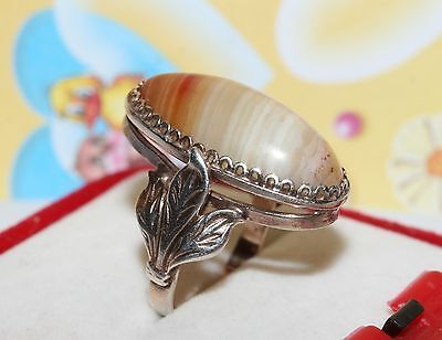 Vintage Miracle AGATE stone Soviet Era Ring Silver 875 USSR Antique size 8