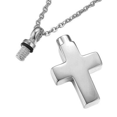 Memorial Cremation Jewelry,Pendant,Keepsake Ash,Funeral Urn,CROSS Plain SILVER