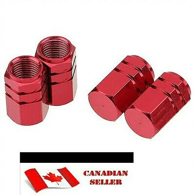 4pc RED Tire Valve Stem Caps  - FAST SHIPPING