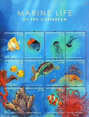 Marine Life of the Caribbean (Fish/Sea Turtle/Starfish) Stamp Sheet/2014 Antigua