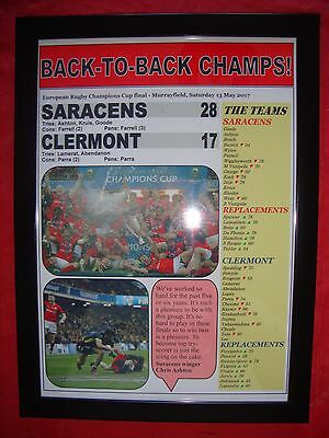 Saracens 28 Clermont 17 - 2017 European Champions Cup final - framed print