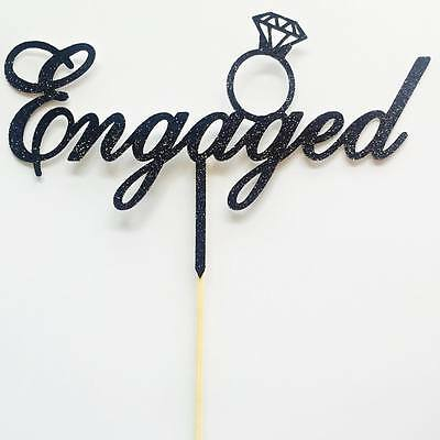 Engaged Engagement Cake Topper - Assorted Colours - Engagement Ring Topper
