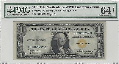 $1 1934A North Africa WWII PMG 64 EPQ Emergency Issue Banknote