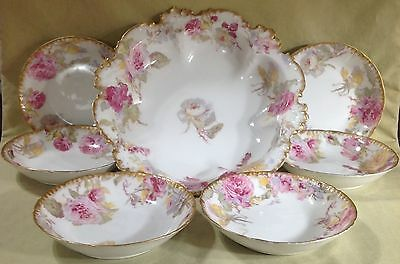Vintage Gda Limoges Berry Bowl Set, Master + 6 Bowls Gorgeous Rose Decoration