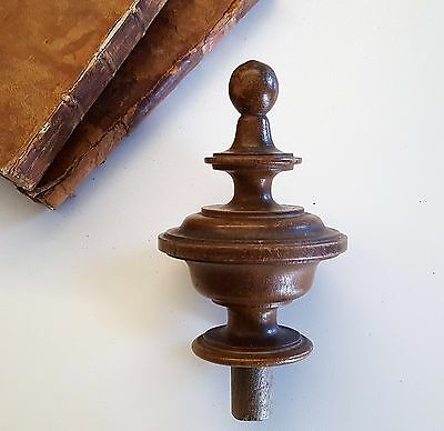 ANTIQUE POST FINIAL END CAP French wood FURNITURE PART 4.8  inches