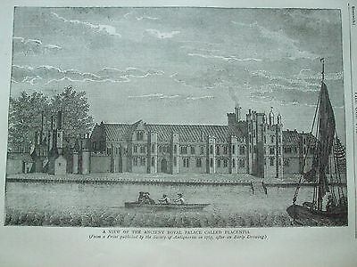 Antique Print C1875 View Of The Ancient Royal Palace Placentia Engraving London