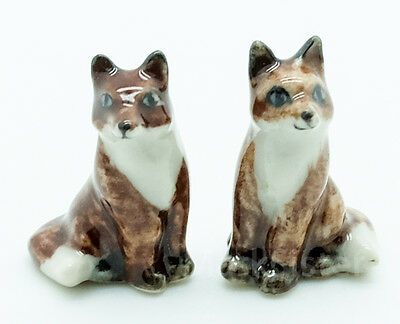 Figurine Dollhouse Animal Ceramic Statue 2 Brown Fox - CWT001