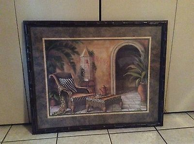 "HOME INTERIORS Brown Bamboo Exotic Frames "" Zebra Throw "" 32x26 Excellent"