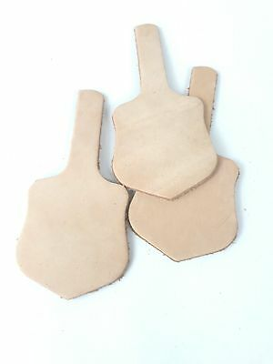 Leather shield blanks pyrography keyring name tag initials 2.5mm-3mm pack of 3
