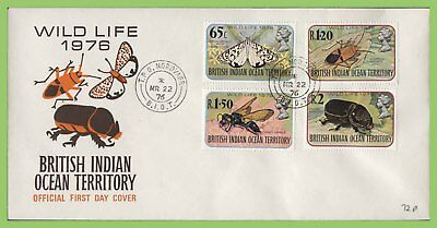 B.I.O.T. 1976 Wildlife - insects set on First Day Cover