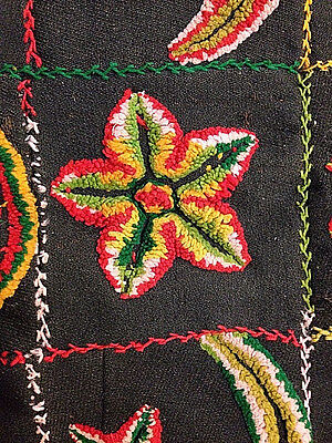 "Antique vintage stumpwork quilt top 31""x51"". Black,yellow,red,white & green."