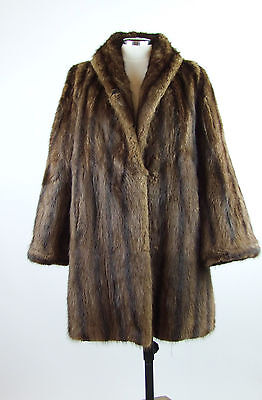 Women's Vintage Real Brown Mink Fur Jacket / Coat - Size 16/18