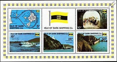 1980 ISLE OF SARK SHIPPING COMPANY Stamp Sheet (GB Locals / Boats / Flag / Map)