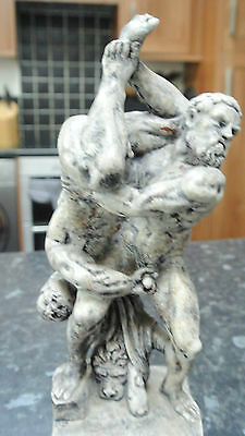 Antique Greek Gay Interest Wrestler Statue of Hercules and Diomedes
