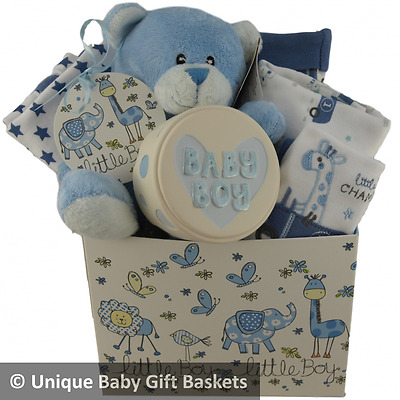 Baby gift basket baby hamper 4 pce clothes set & keepsake boy packed box