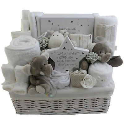 Deluxe, large baby gift basket baby hamper unisex neutral baby shower nappy cake