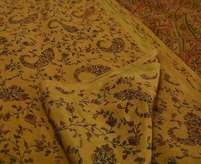Sanskriti Antique Indian Vintage Printed Saree 100% Pure Silk Craft Fabric