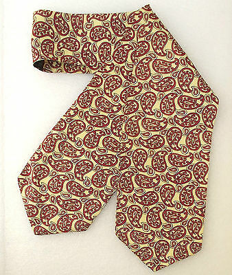 Tootal day cravat Red yellow Paisley Vintage 1950s Men's casual Mod hippie rayon