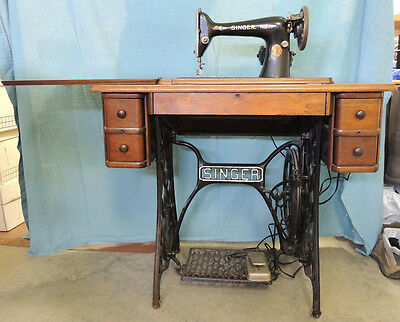 Vintage 1925 SINGER Treadle Sewing Machine Model 66 w/4 Drawer Cabinet