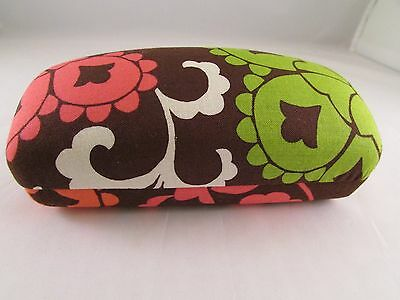 NWOT Vera Bradley Lola Hard Clamshell Sunglasses Case w/Cloth Brown Green Pink