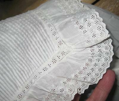antique Victorian Long BABY CHRISTENING GOWN Pin Tucks Broderie Anglaise RUFFLES