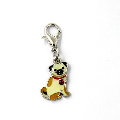 Cute PUG Enamel Necklace and Charm SET Lobster Clasp  ANIMAL RESCUE DONATION