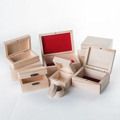 Selection of Small Wooden Jewellery Boxes / Plain Unfinished Wood Trinket Box
