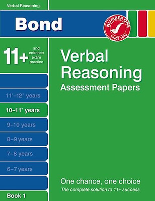 Bond Verbal Reasoning Assessment Papers 10-11+ years Book 1, Very Good Condition