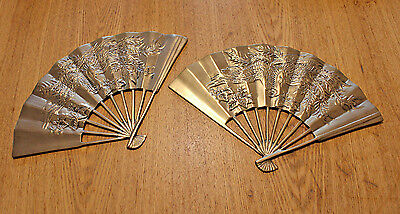 Vintage Solid Brass Asian Hanging Fans Phoenix Design Set of 2 Taiwan 11.5""