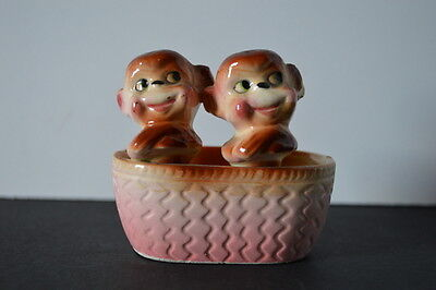Vintage~Pair of Monkey's~Planter~Small~2-1/2in.