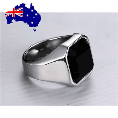MEN's Stainless Steel Black Square Onyx Gold Silver Black Ring Size 8-9 ON