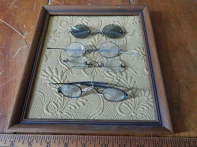 Antique Eyeglass Collection X 4, Framed! 1 Pair is Sunglasses!
