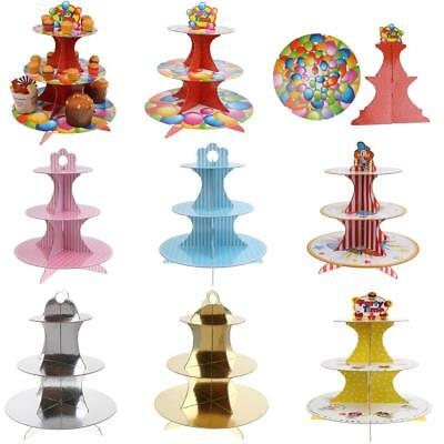 3 Tier Disposable Cardboard Food Cupcake Stand Wedding Birthday Holiday Festival