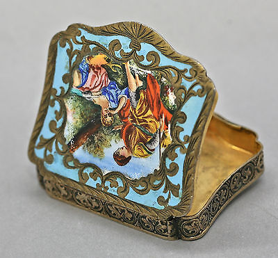 Extremely Rare Antique Italian Sterling Silver Enamel Powder Compact Circa 1940s