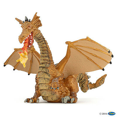 New Papo Gold Dragon with Flame Fire Breathing Fantasy Enchanted World 39095