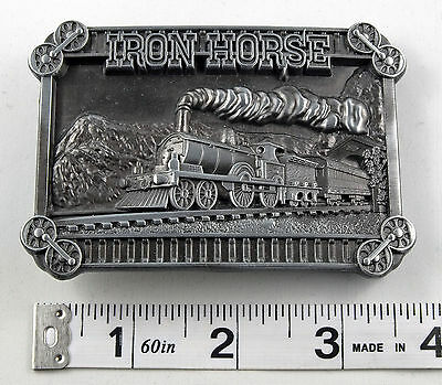 Train Steam Engine Railway Railroad Pewter Belt Buckle    SBB