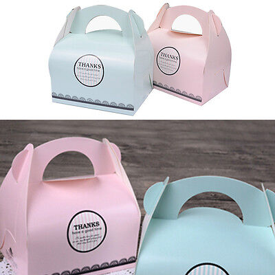 10PCS Hot Single Cupcake Muffin Fairy Cake Boxes With Handle Paper Gift Box Cute