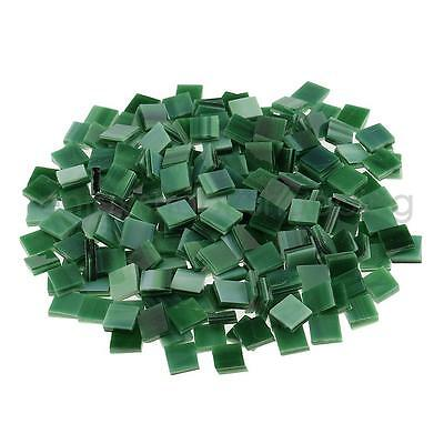 250x Square Glass Mosaic Tiles Pieces for DIY Crafts Material 10x10mm Green