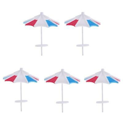 5Pcs Red & Blue DIY Sun Umbrella Model 1/100 Miniature Garden Building Decor