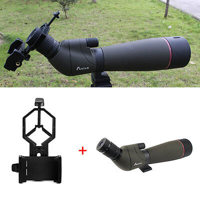 AU 20-60x80 Zoom Angled Spotting Scope+Tripod+Cell Phone Mount Adapter Travel