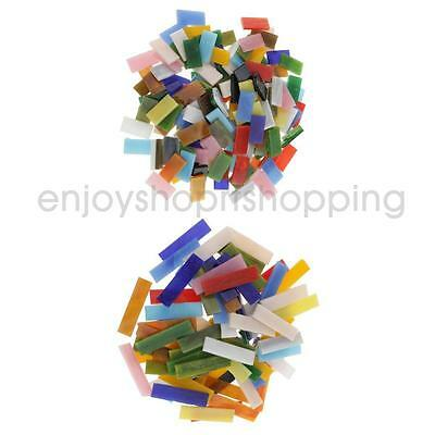 220pcs Colorful Rectangle Glass Pieces Mosaic Tiles Tessera for Crafts DIY