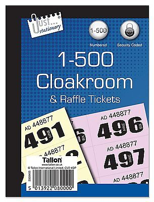 1-500 Cloakroom And Raffle Tickets Assorted Stationery New
