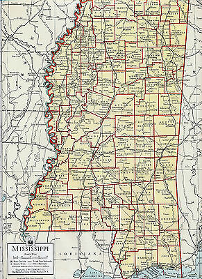 USA Mississippi + Missouri 1937 orig. atlas maps Harrison Adams Pemiscot Jackson