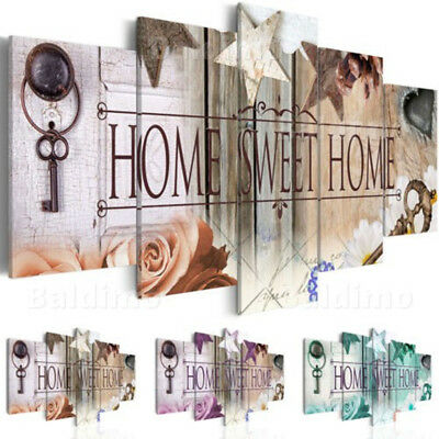 5pcs LARGE SWEET HOME Art Unframed Print Canvas Picture Home Painting Decor