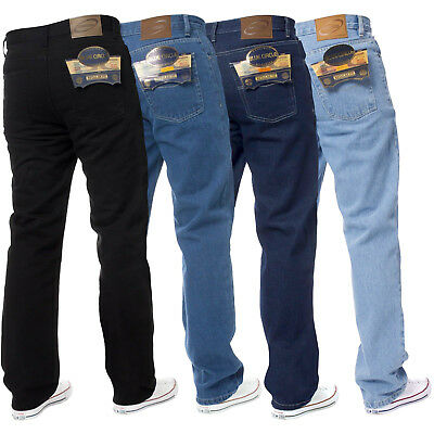 New Mens Straight Leg Basic Work Jeans Denim Trousers Pants Big Tall King Sizes