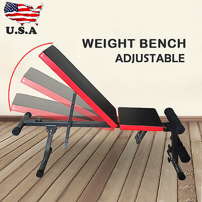 Gym Weight Press Bench Flat Decline Incline Workout Ab Exercise Lifting Training